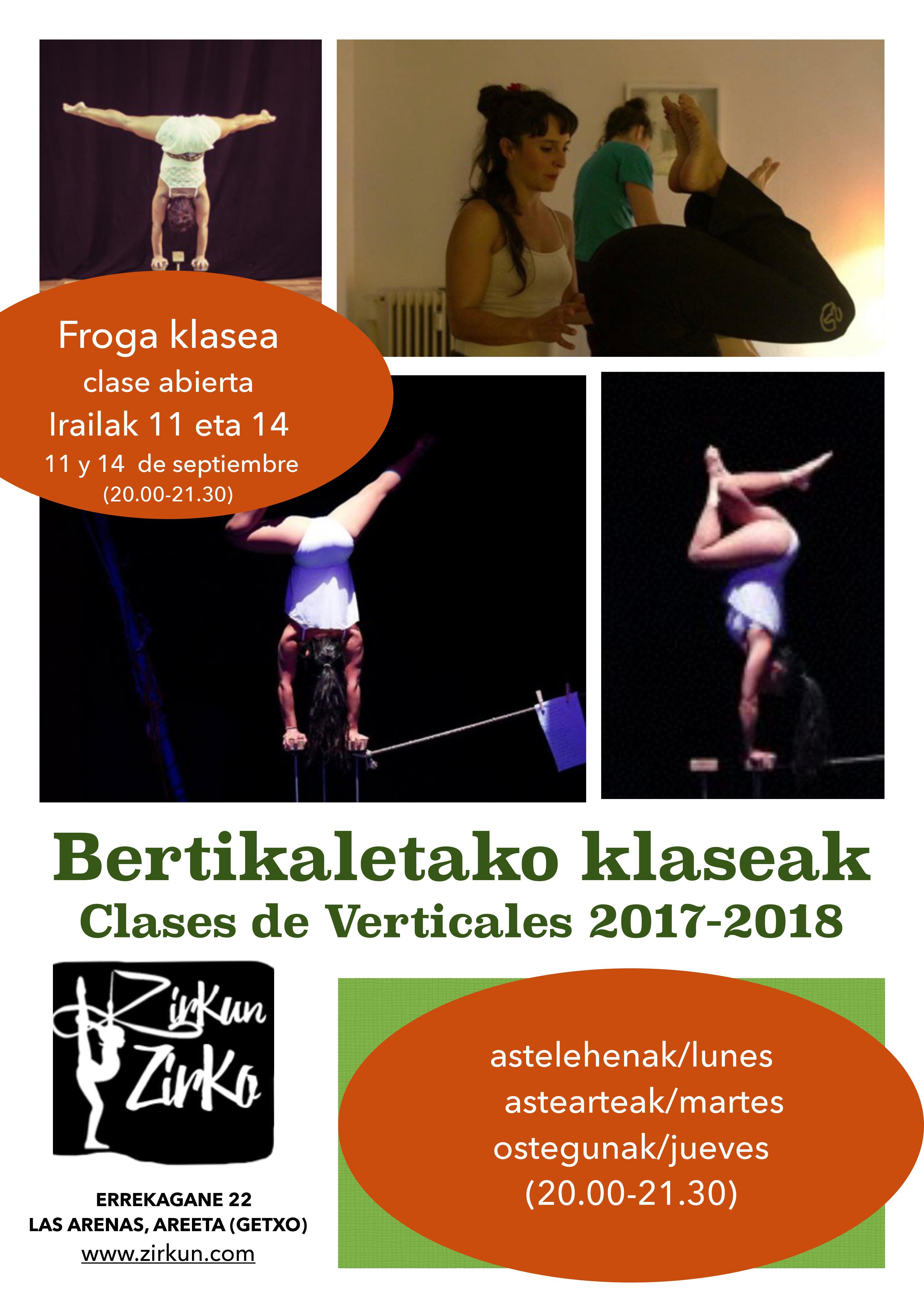 11 y 14 de septiembre clases abiertas de verticales en Escuela Zirkun Zirko de Las Arenas.¡¡Animate a probar!!