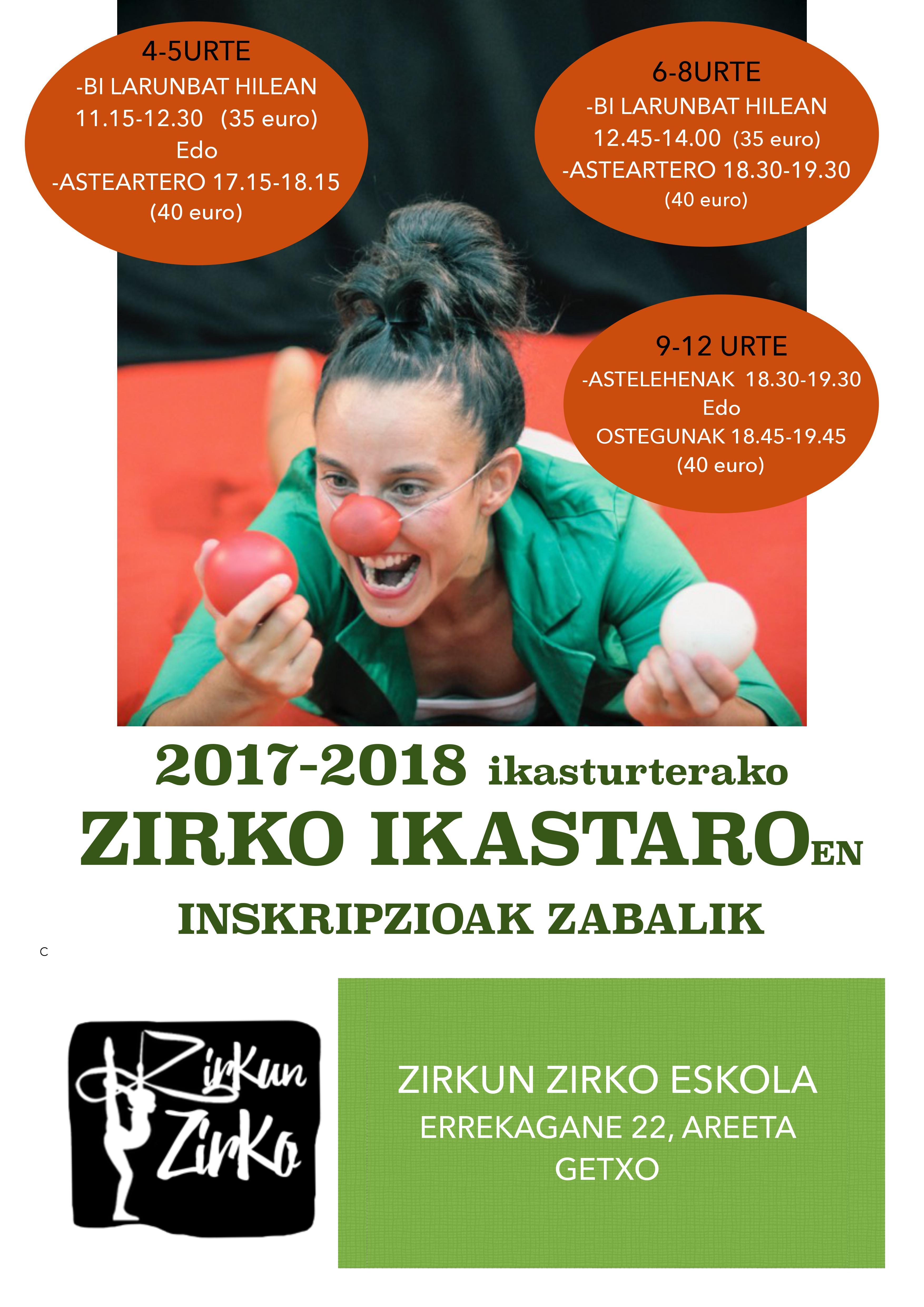 Areeta eskolako 2017-2018  zirko ikastaroen  inskripzioak zabalik!!