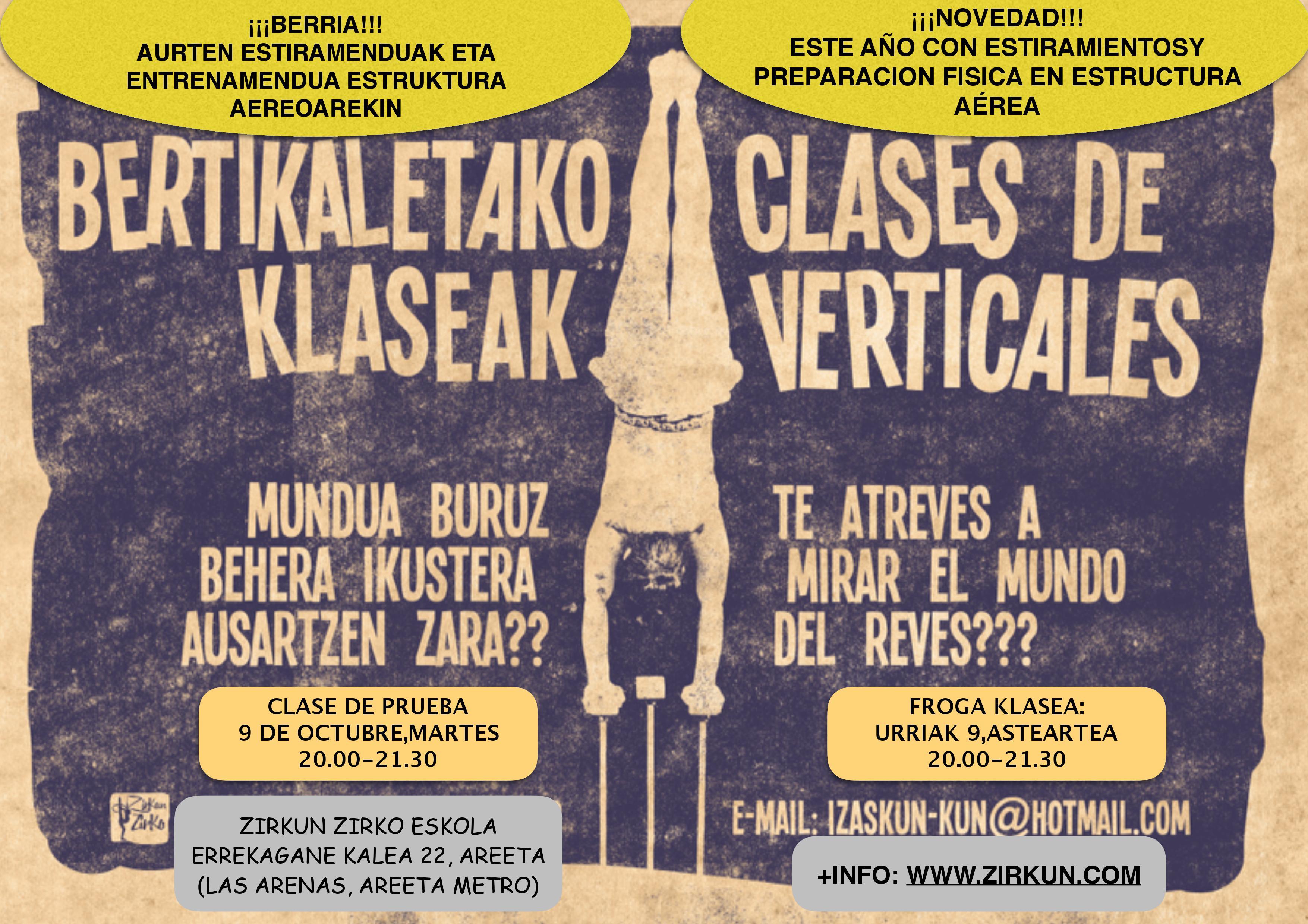BERTIKALETAKO KLASEAK!! CLASES DE VERTICALES